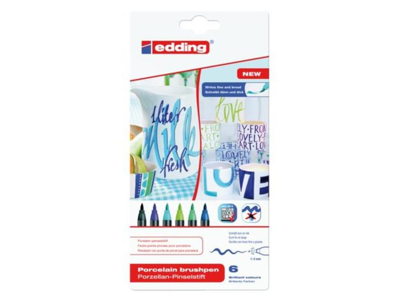 Edding Porselein penseelstiften 4200/6 S zwart, blauw- en groentinten - set van 6
