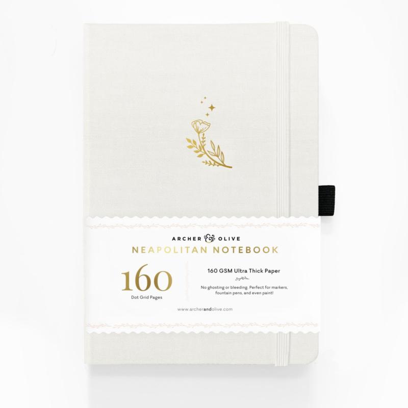 Archer & Olive bulletjournal/Notitieboek A5 - 160 pagina's wit, zwart en kraft - Dotted - Neapolitan Moon Flowers