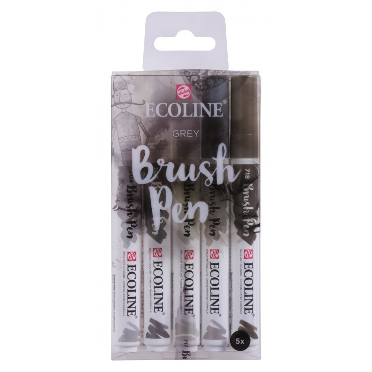 Talens Ecoline Brush Pen - set van 5 - grijs