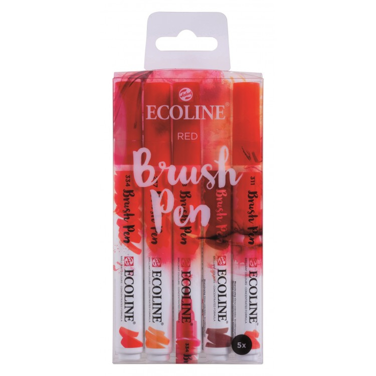 Talens Ecoline Brush Pen - set van 5 - rood