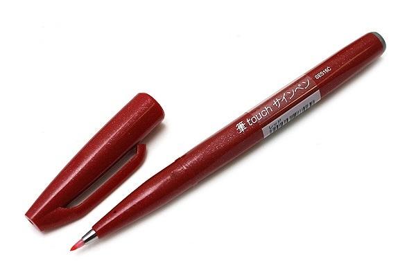 Brushpen Pentel Touch Pen SES15C - Rood