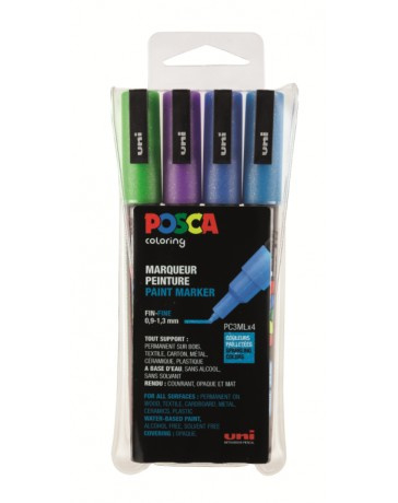 Uni Posca Paint Marker glitter PC-3ML-4A ass13 - set van 4
