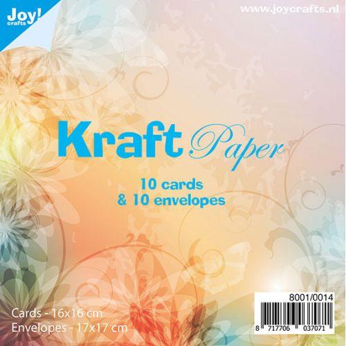 Joy Crafts kaarten & enveloppen 17 x 17 cm - kraft papier - set  van 10