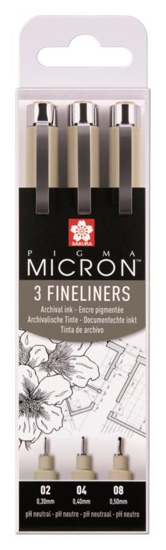 Sakura Pigma Micron Fineliners Zwart - set van 3