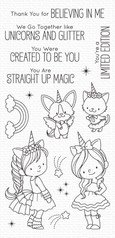 My Favorite Things clear stamps - set van 16 - BB Unicorns and Glitter