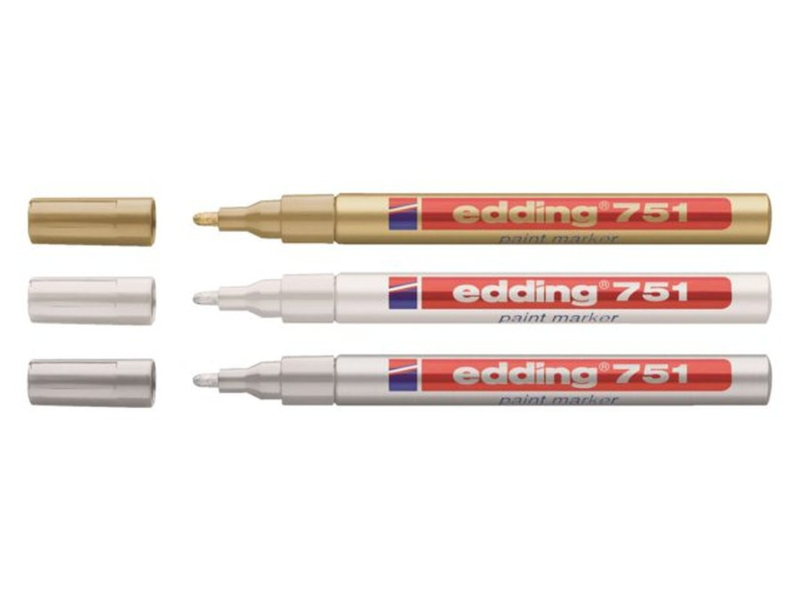 Edding Glanslak-markers 751 - Goud, wit en zilver - set van 3