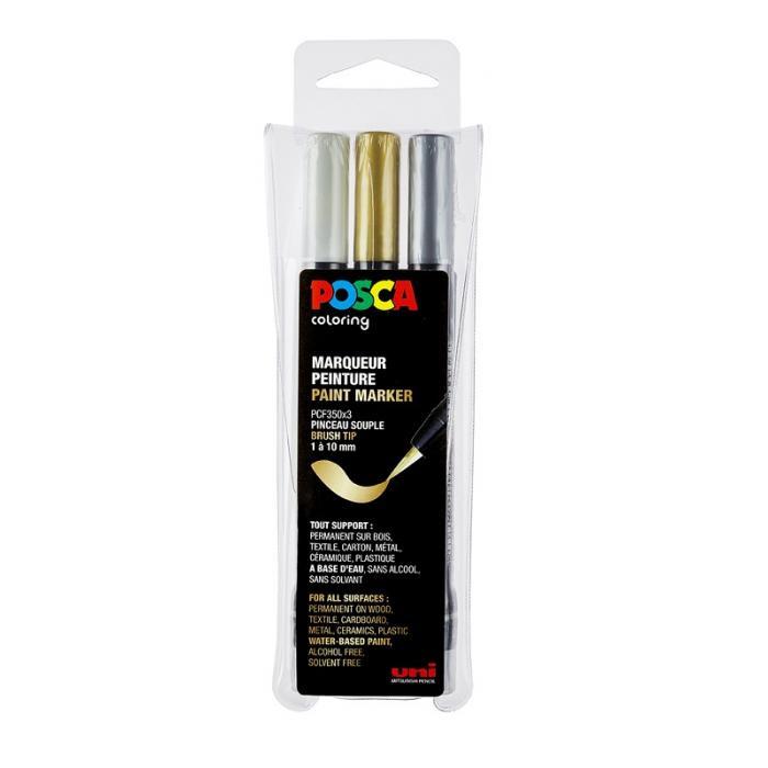 Uni Posca Paintmarker Brush pen PCF-350-3A GSW - set van 3