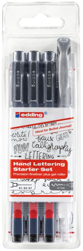 Edding Hand Lettering Starter Set Fineliner and gel roller - set van 4