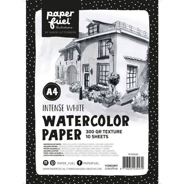 Paperfuel Aquarelpapier texture A4 - 10 vellen 300 grams - intense white