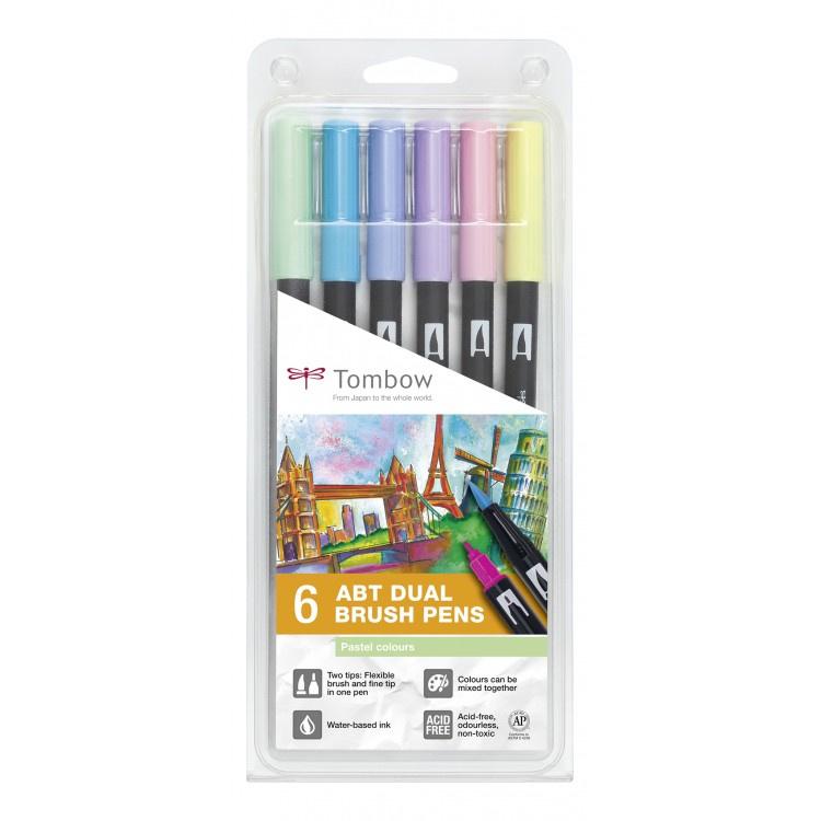 Tombow ABT Dual Brush Pen - set van 6 Pastel colours