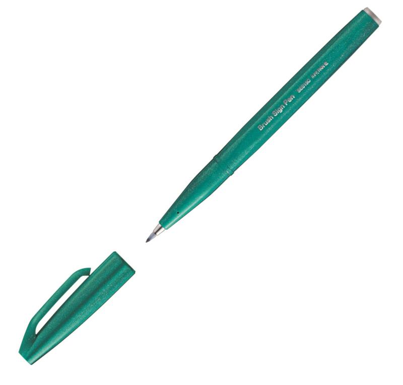 Brushpen Pentel Brush Sign Pen SES15C - Turquoise Groen