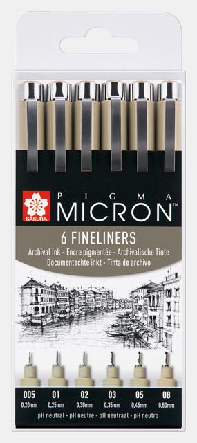 Sakura Pigma Micron Fineliners Zwart - set van 6