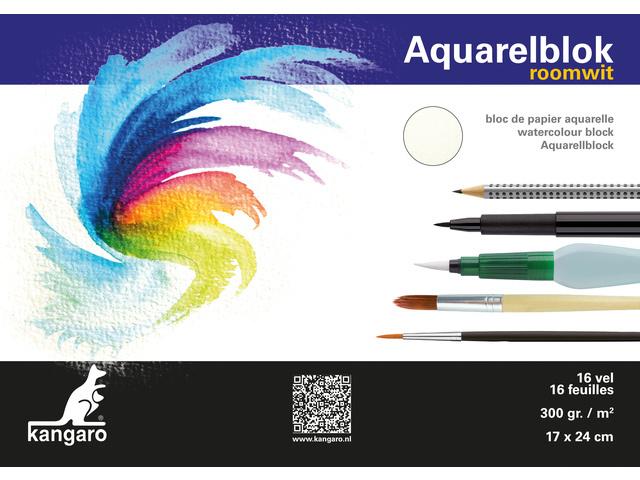 Kangaro Aquarelpapier Roomwit - 16 vellen 300 grams papier - 24 x 17 cm