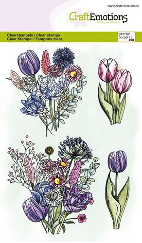 CraftEmotions clearstamps A6 - Tulpenboeket