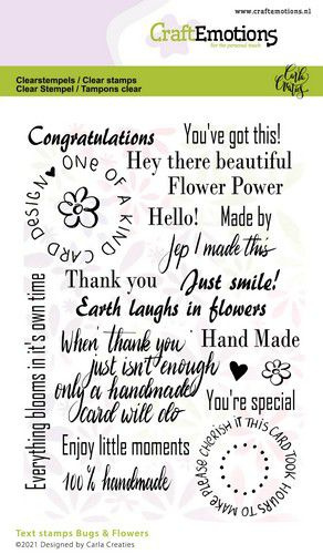 CraftEmotions clearstamps A6 - Bugs & flowers tekst - Carla Creaties