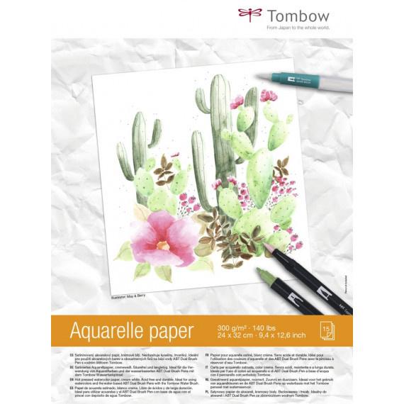 Tombow Aquarelpapier 24 x 32 cm - 15 vellen 300 grams Roomwit
