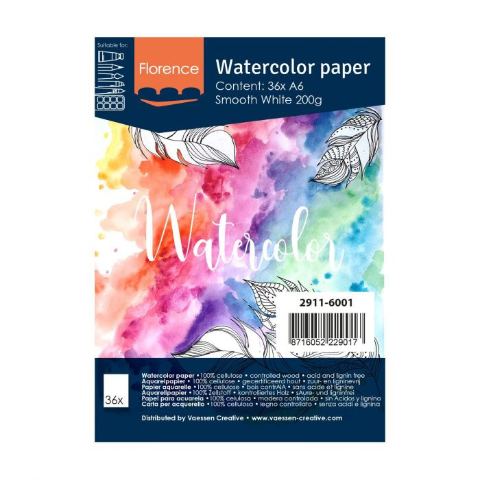 Florence Aquarelpapier smooth Intense White - 36 vellen 200 grams papier - A6