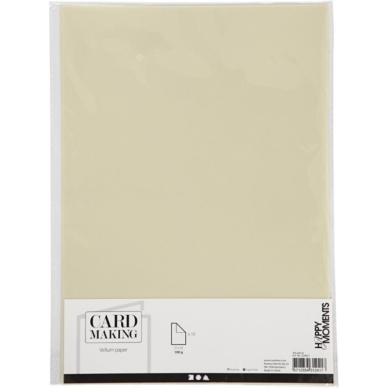 Card Making Vellum / Perkament papier A4 - 10 vellen - Off-White