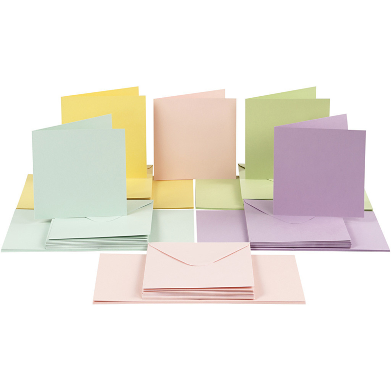 CARD MAKING dubbele blanco Kaarten 15 x 15 cm & enveloppen - Pastel papier - set van 50