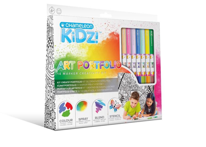 Chameleon Kidz Portfolio 14 Color Creativity Kit - set van 32