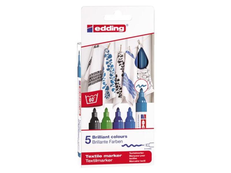 Edding 4500/5S Textielstiften 2-3 mm zwart, blauw- en groentinten  - set van 5