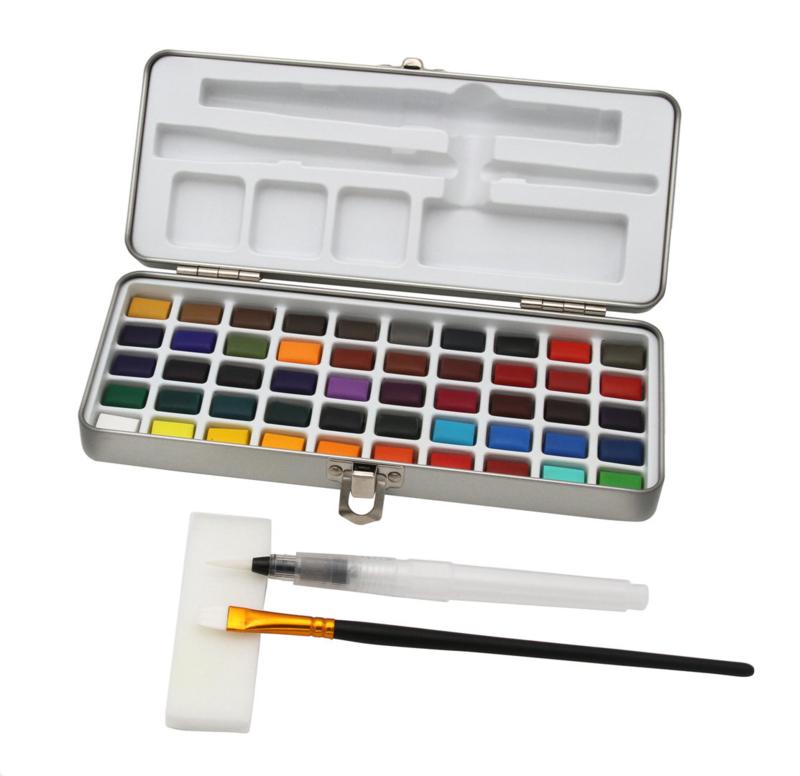 Paintersisters Aquarelverf  - set van 50 kleuren + Penseel + waterbrush