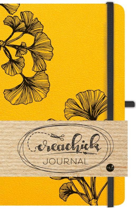 Creachick Journal A5 - 224 pagina's crème wit - Dotted - okergeel