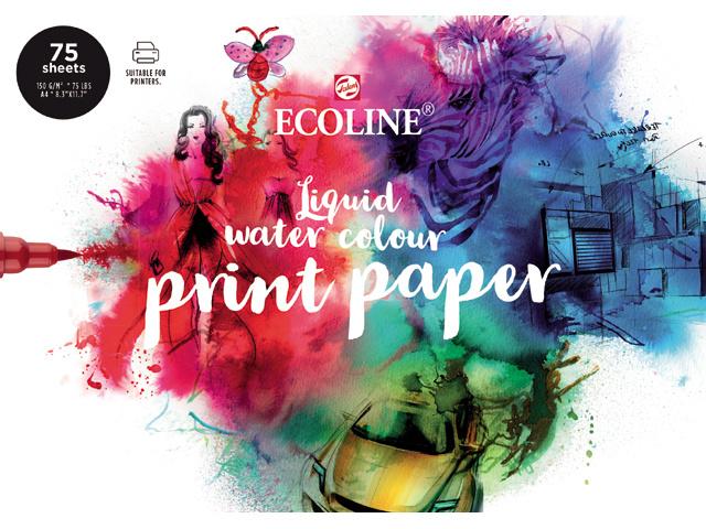 Talens Ecoline Liquid water colour print papier - A4 - 75 vellen - Wit