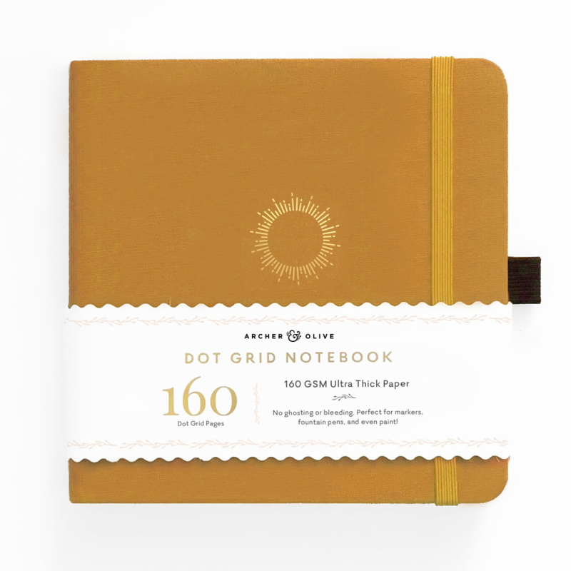 Archer & Olive bulletjournal/Notitieboek 20,3 x 20,3 cm - 160 pagina's - Dotted - Morning Sun