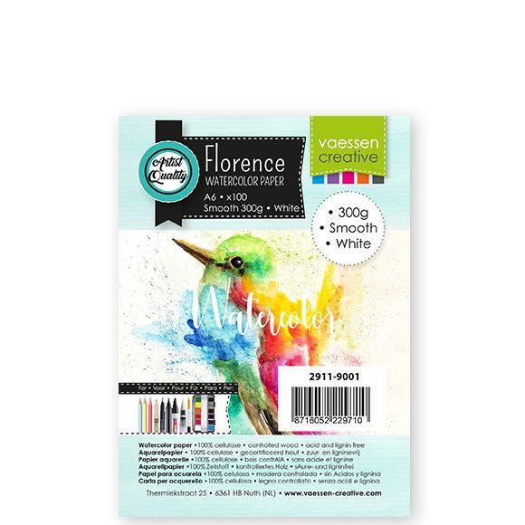 Florence Aquarelpapier smooth Intense White - 100 vellen 300 grams papier - A6