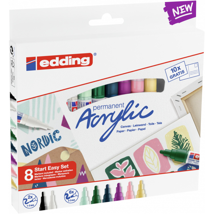 Edding Acrylmarker start easy set nordic - set van 8 + 10 stuks A6 kaarten
