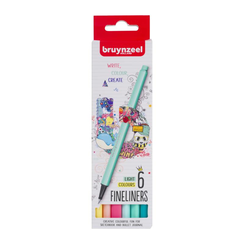 Bruynzeel Fineliners Light Colours - set van 6