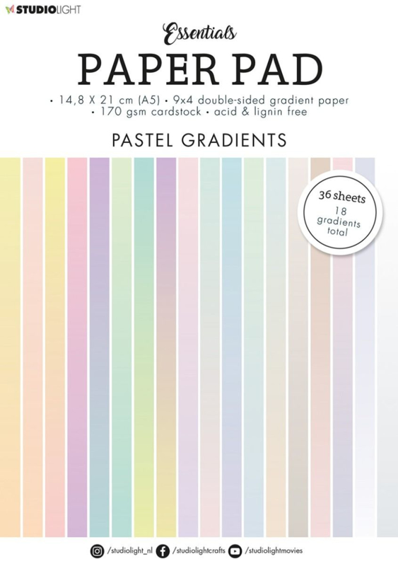 StudioLight Paper Pad Blok A5 - 36 vellen - Gradient Pastel nr. 19
