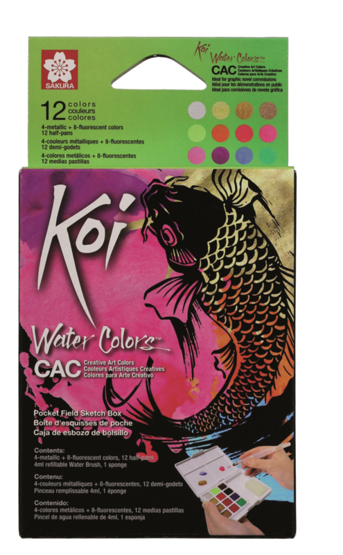 Koi Water Colors Sketchbox - set van 12 inclusief  Metallic and Reflex + waterbrush