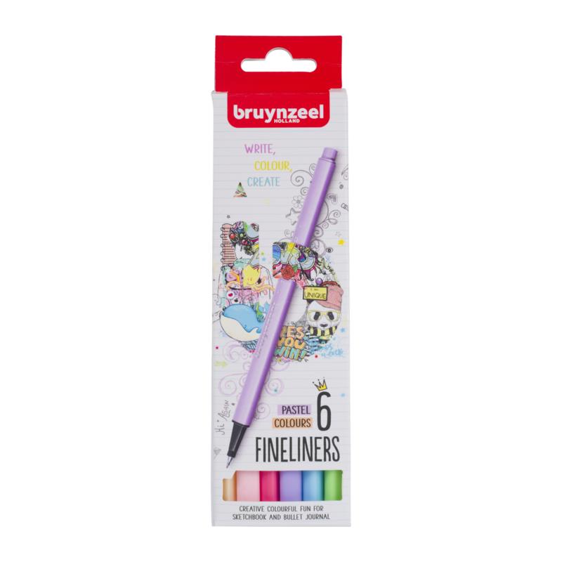 Bruynzeel Fineliners Pastel Colours - set van 6