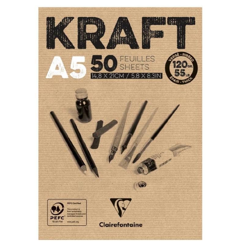 Clairefontaine Kraft A5 - 50 vellen - 120 gram - kraft papier