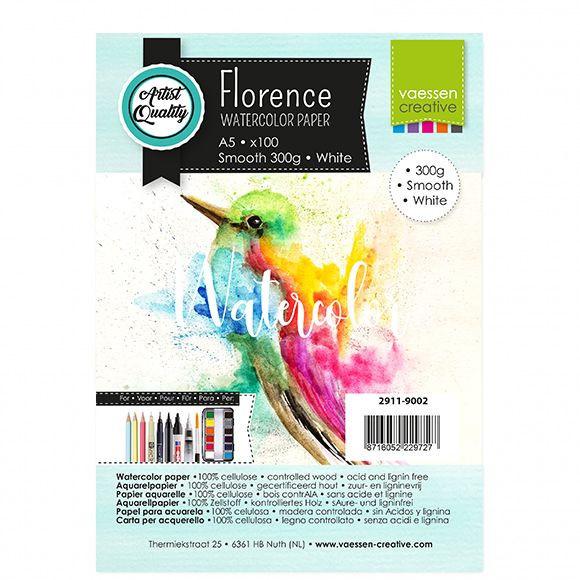 Florence Aquarelpapier smooth Intense White - 100 vellen 300 grams papier - A5