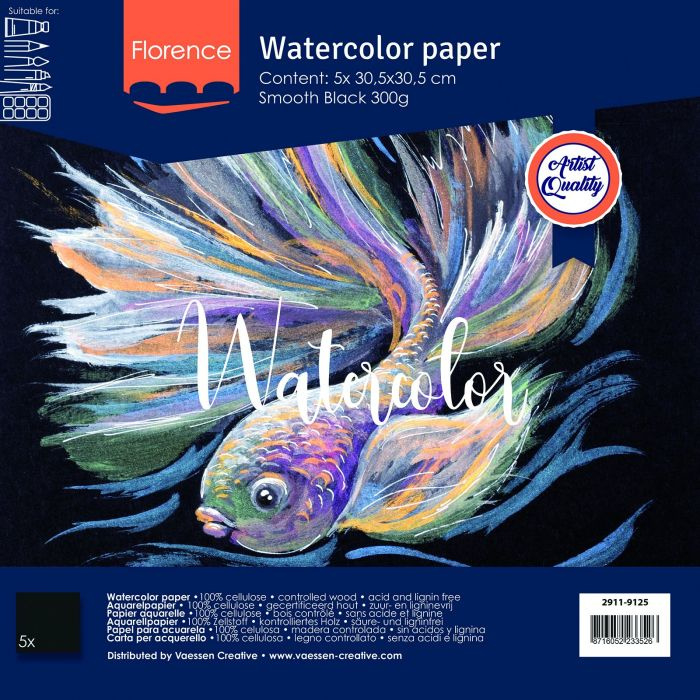 Florence Aquarelpapier smooth Black - 5 vellen 300 grams Zwart papier - 30,5 x 30,5 cm