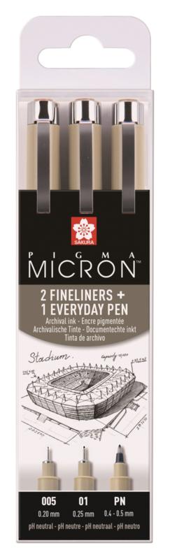 Sakura Pigma Micron 2 Fineliners + Everyday PN pen - set van 3 - Zwart