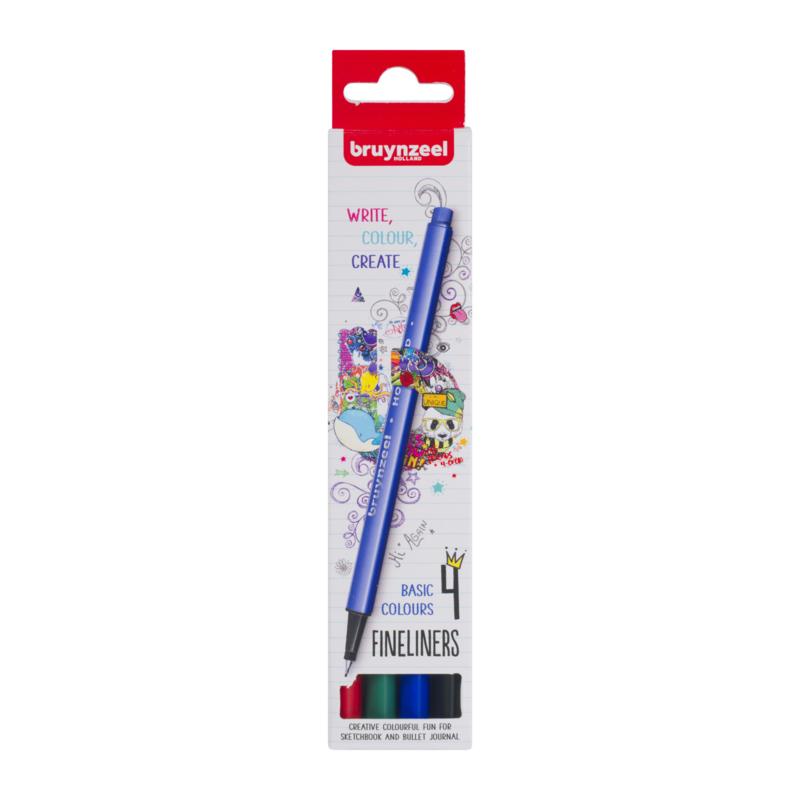 Bruynzeel Fineliners Basic Colours - set van 4