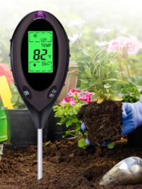 Digitale 4 in 1 bodemtester, 4 in 1 grondmeter bodem meter (pH, licht en vocht en temperatuur)