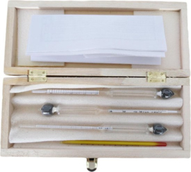 Alcohol Test Kit met 3 Hydrometers en Thermometer
