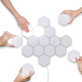 Hexagon Creatieve Decoratieve Wandlamp Warm Wit - Modulaire Verlichting, Helios Touch, set van 10 stuks