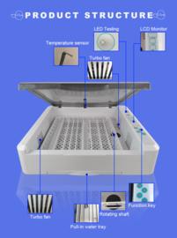 Broedmachine Smart & Flexibele Ei Capaciteit: 36 kippen/12 ganzen/25 eenden /56 duiven/80 kwartel met schouwlamp model 2021