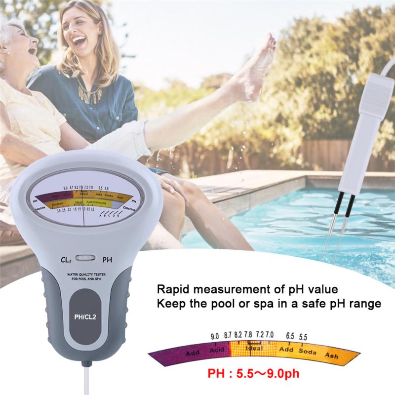 Elektronische PH en Chloor meter voor zwembaden, jacuzzi's en hottubs