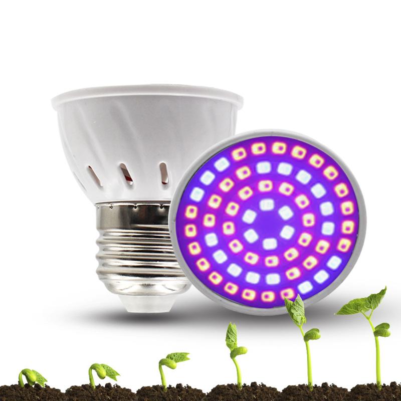 Set 2 Groeilamp  E27 28Watt - Growlight LED  interne koeling  72 small Leds model , energiezuinig