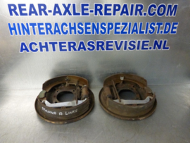 Caliper plate with brake shoes, for Opel Ascona A, Manta A, used.