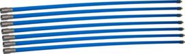 Professionele blauwe veegset 8,40m met nylonborstelv