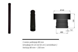 Set 3 pelletpijp boven aansluiting op bestandkanaal 150 mm