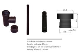 Set 2 Pelletkachel achter aansluiting op bestandkanaal 150 mm